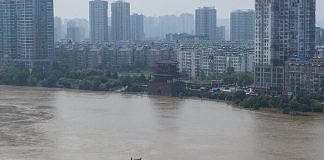 An aerial view of the Kwanyin Temple in the middle of the flooded Yangtze River on July 24, 2020 in Wuhan, China