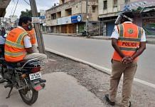 Police keep watch over one of the areas affected by Bengaluru riots Tuesday | Rohini Swamy | ThePrint