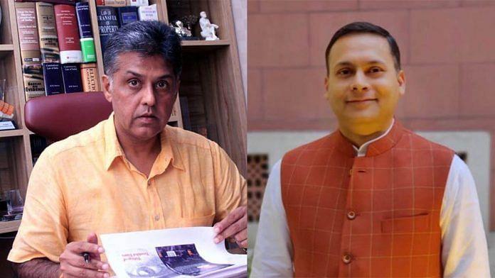 Congress MP Manish Tewari (L) and BJP IT cell chief Amit Malviya