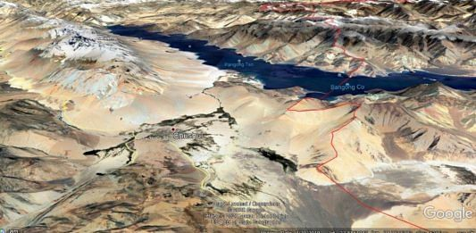A Google Earth image showing the elevation on the southern bank of Pangong Tso