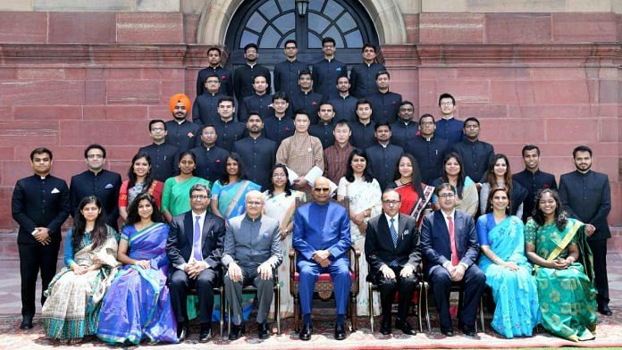 President Ram Nath Kovind with the 2018 batch of IFS officers in a picture from 2019 | Photo: ANI