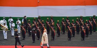 PM Modi walks past a guard of honour during the 74th Independence Day celebrations at Red Fort on 15 August 2020 | PTI