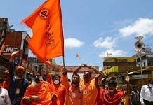 Hindu men celebrating the Ram Mandir bhoomi pujan in Ayodhya on 5 August 2020 (representational image) | Photo: Suraj Singh Bisht | ThePrint