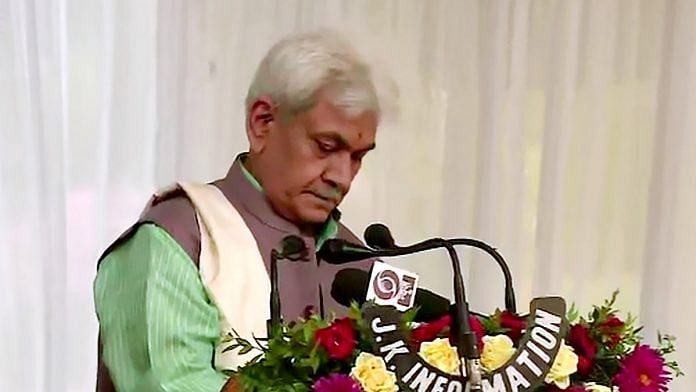 Manoj Sinha takes oath as Lieutenant Governor of Jammu and Kashmir Friday | Photo: ANI