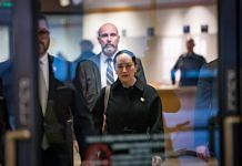Meng Wanzhou exits the Supreme Court after an extradition hearing in Vancouver on 23 January 2020. Photo: Darryl Dyck | Bloomberg