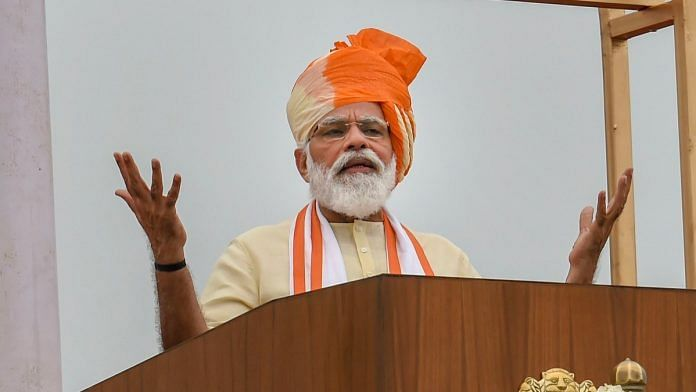 Prime Minister Narendra Modi addresses the nation during the 74th Independence Day celebrations, at Red Fort in New Delhi on 15 August 2020   Atul Yadav   PTI