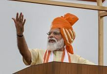 Prime Minister Narendra Modi addresses the nation during the 74th Independence Day celebrations at Red Fort in New Delhi on 15 August 2020 | PTI