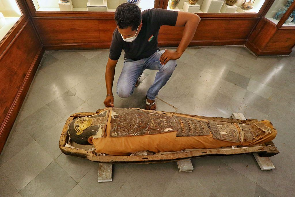 A 2300-year old mummy kept out of its box at a safe place after rain water entered the historic Albert Hall museum's basement, in Jaipur, 18 Aug 2020 | PTI