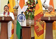 File image of Sri Lankan Prime Minister Mahinda Rajapaksa (left) with India's Narendra Modi   Photo: ANI