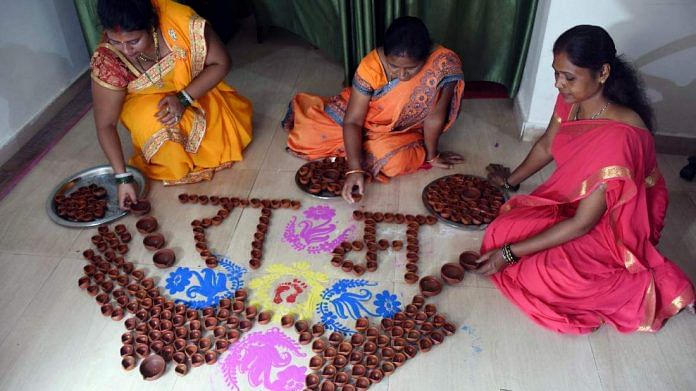 Tribal women in Jharkhand capital Ranchi get ready to mark the Ram temple bhoomi pujan Wednesday | ANI
