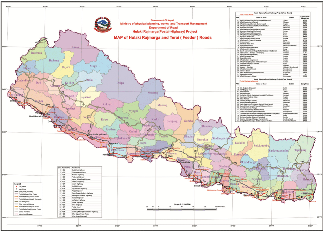 Map 1: The Postal Road Project in Nepal