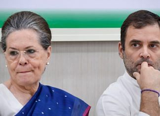 Congress interim president Sonia Gandhi with Rahul Gandhi during a Congress Working Committee (CWC) meeting in New Delhi | Atul Yadav | PTI File Photo
