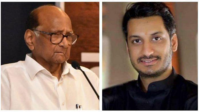 NCP chief Sharad Pawar and his grand-nephew Parth Pawar | Illustration: Soham Sen