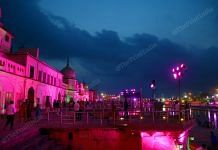 The Ayodhya ghat is lit up on the eve of the Ram temple bhumi pujan