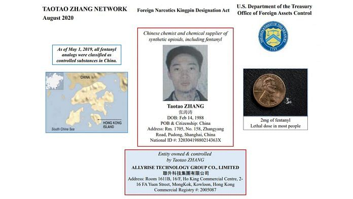 An image released by the US Treasury Department identifying Chinese national Zhang Taotao and his drug network. | Photo: US Treasury Department