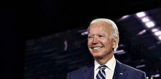 US Democratic presidential nominee Joe Biden during the Democratic National Convention at the Chase Center in Wilmington, Delaware, on 19 August