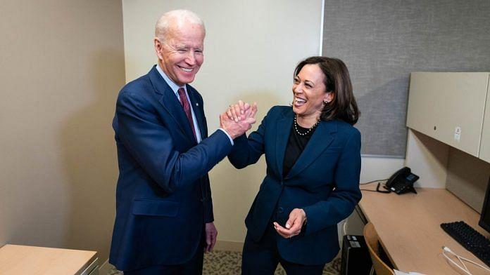 Democratic presidential nominee Joe Biden with Indian-origin senator Kamala Harris | Twitter/Joe Biden