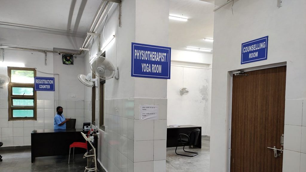 A sign showing the way towards the dedicated physiotheraphy/yoga room at the post-Covid clinic | Photo: Simrin Sirur | ThePrint