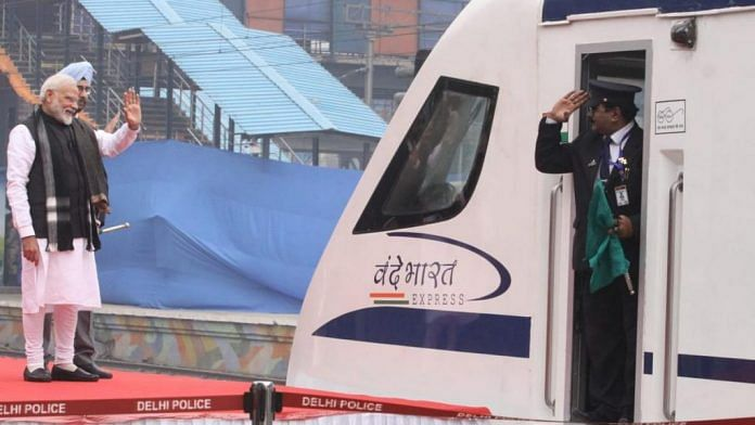 PM Modi flags off the first Vande Bharat Express train in this February 2019 file photo | Praveen Jain | ThePrint