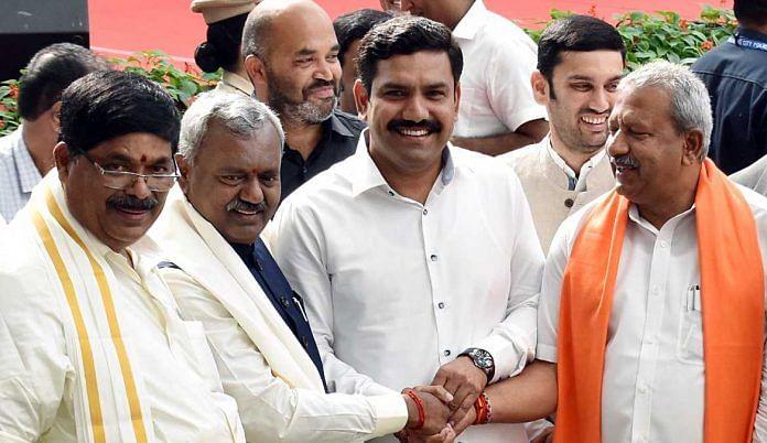 Karnataka CM B.S. Yediyurappa's younger son B.Y. Vijayendra (third from left) with BJP MLAs | File photo | ANI