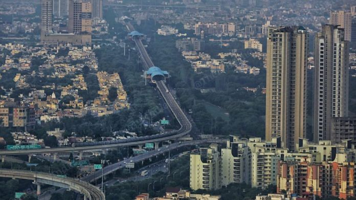 An aerial view of New Delhi, one of cities listed under the Modi government's Smart Cities Mission | ThePrint File Photo