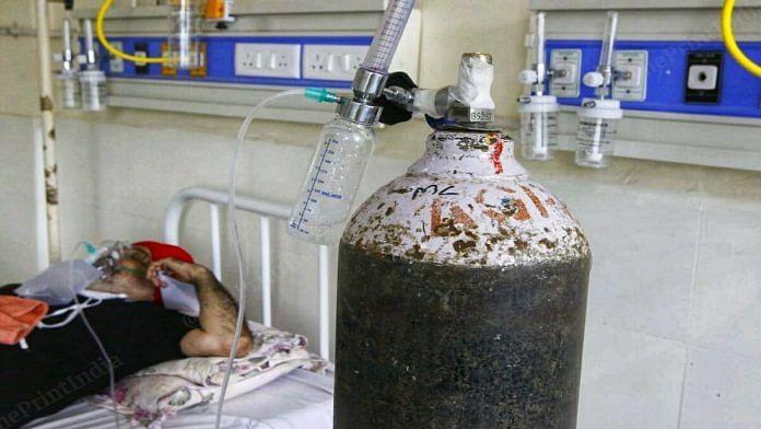Representational image | An oxygen cylinder at Mohali Civil Hospital | Praveen Jain | ThePrint