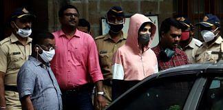 Bollywood Actress Rhea Chakraborty leaves at NCB office, in Mumbai on Monday.   ANI