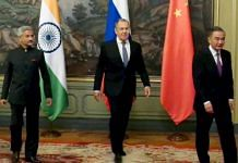 External Affairs Minister S. Jaishankar with his Russian and Chinese counterparts, Sergey Lavrov (C) and Wang Yi (R), respectively, during the meeting of SCO foreign ministers in Moscow Thursday | ANI