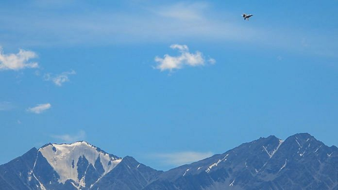 An IAF fighter jet flies over Leh after fresh confrontation between India and China on the southern bank of the Pangong Tso, 2 Sep | PTI
