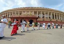 Opposition MPs march from Gandhi statue to Ambedkar statue in protest against the recent farm and labour bills, during the ongoing Monsoon Session, at Parliament House in New Delhi | Kamal Kishore | PTI