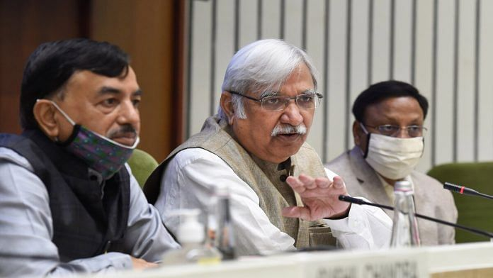 Chief Election Commissioner Sunil Arora with Election Commissioners Sushil Chandra (Left) and Rajiv Kumar (Right) announces the schedule for the Bihar Assembly Elections 2020, at a press conference, in New Delhi, Friday, Sept. 25, 2020 | Atul Yadav | PTI