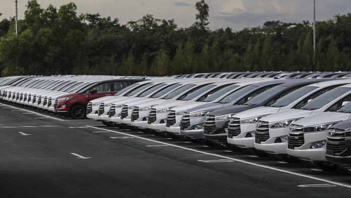 Toyota Innova Crysta vehicles at the Toyota factory, in Bengaluru | Bloomberg