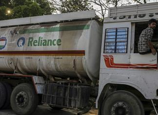 A Reliance Industries Ltd. oil tanker truck.