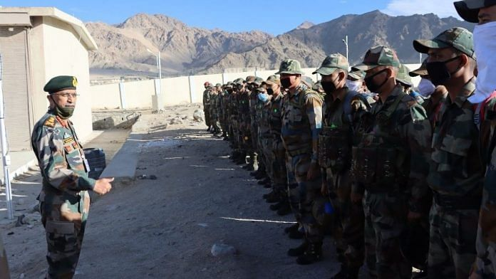 Army Chief General M.M. Naravane at Leh to review security situation and operational preparedness along the Line of Actual Control in Eastern Ladakh | Photo: Twitter/@adgpi