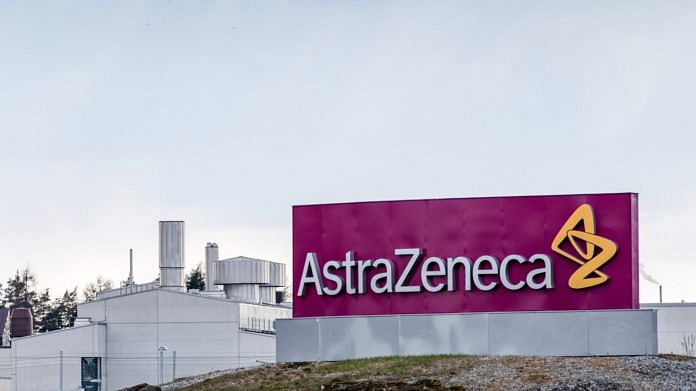 A logo sits at Astra Zeneca Plc's facilities in Sodertalje Sweden
