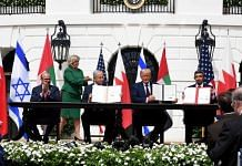 From Left-Right: Bahrain Foreign Minister Khalid Khalifa, Israeli Prime Minister Netanyahu, US President Donald Trump, and UAE Foreign Minister Abdullah Zayed sign the Abraham Accord | Benjamin Netanyahu | Twitter