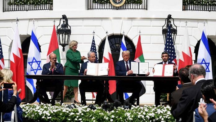 From Left-Right: Bahrain Foreign Minister Khalid Khalifa, Israeli Prime Minister Netanyahu, US President Donald Trump, and UAE Foreign Minister Abdullah Zayed sign the Abraham Accord   Benjamin Netanyahu   Twitter