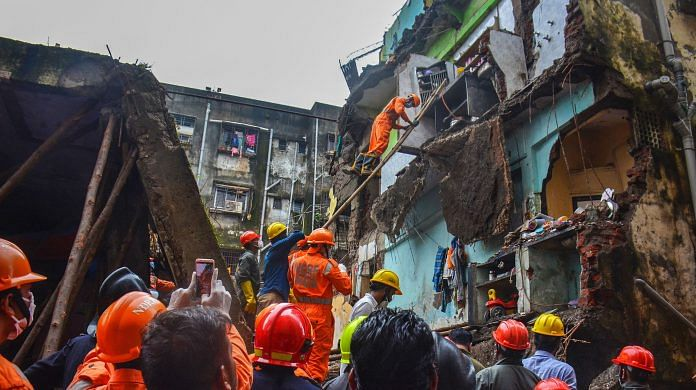 Rescue work at the site of the building collapse at Bhiwandi in Thane on 22 September.