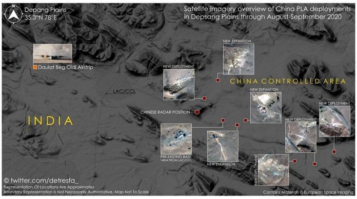 Satellite image of Chinese positions along Depsang Plains   Credit: @detresfa