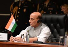 Defence Minister Rajnath Singh at the combined meeting of defence ministers of the Shanghai Cooperation Organisation (SCO) | Twitter