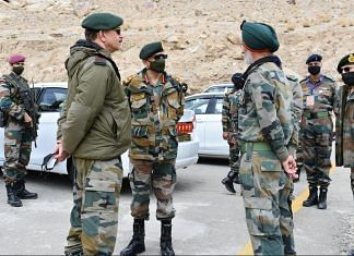 File photo of Army Chief General M.M. Naravane at Leh to review security situation and operational preparedness along the Line of Actual Control in Eastern Ladakh | Photo: Twitter/@adgpi