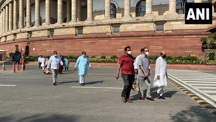Opposition leaders stage walk-out from Rajya Sabha, demanding revocation of suspended MPs   Twitter/ANI