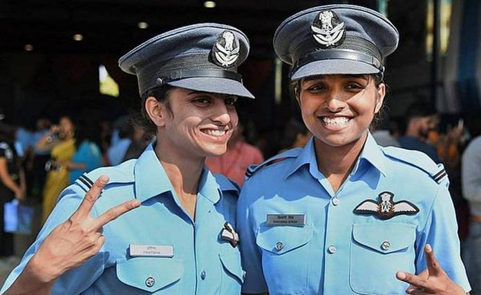 File photo of Flight Lieutenant Shivangi Singh (R) during her induction into the IAF in 2017. She and colleague Pratibha (L) form the second batch of women fighter pilots inducted into the force | IAF