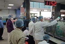 Officials take precautions at the Bilaspur railway station in Chhattisgarh | Photo: Prithviraj Singh | ThePrint
