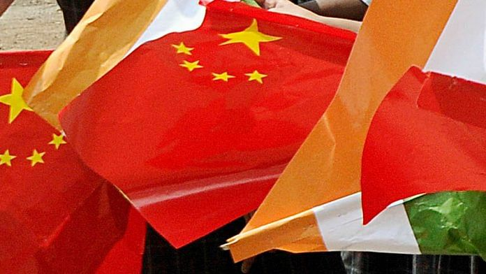 Representational image of the Indian and Chinese flags | Photo: ANI