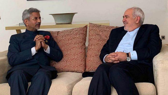 File image of India's External Affairs Minister S. Jaishankar (left) with his Iranian counterpart Javad Zarif | Photo: ANI