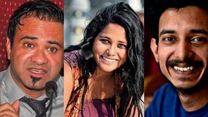 (L-R) Kafeel Khan, Devangana Kalita and Sharjeel Usmani | ThePrint
