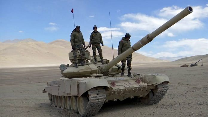 Indian Army soldiers atop a T-90 tank in Ladakh | Representational image: ANI