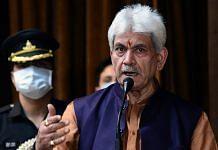 Jammu and Kashmir Lieutenant Governor Manoj Sinha in Srinagar Friday | Photo: ANI