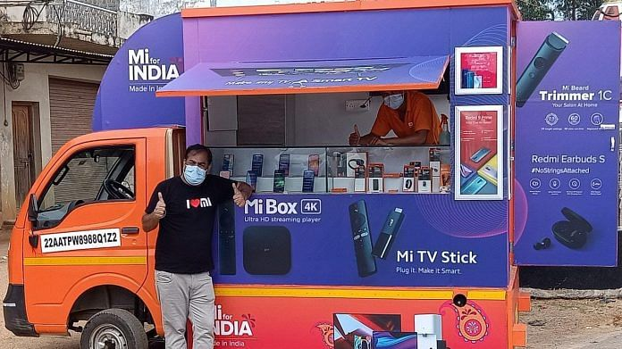 A van selling Mi4 phones